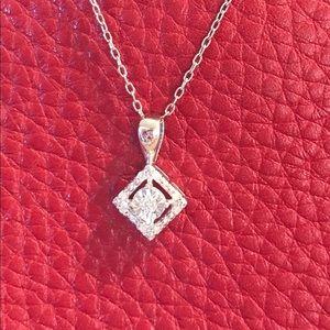 SS Diamond Pendant W/ 18 inch Chain